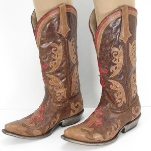 LANE GRACE DISTRESSED LEATHER INLAY COWBOY BOOTS 6